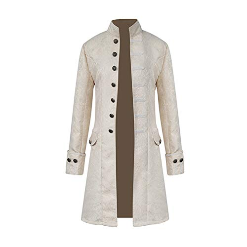 Mens Vintage Tailcoat Jacket Goth Long Steampunk Formal Gothic Victorian Frock Coat Costume for Halloween (White, 2XL)
