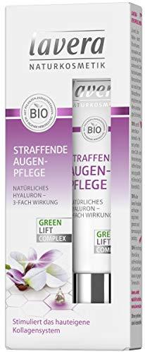 lavera Straffende Augenpflege Karanja mit 3-fach wirksamem Hyaluron ✔ Anti Falten Creme ✔ Intensive Feuchtigkeit und Pflege ✔ vegan ✔ Bio ✔ Naturkosmetik ✔ Natural ✔ Kosmetik Augencreme (15 ml)