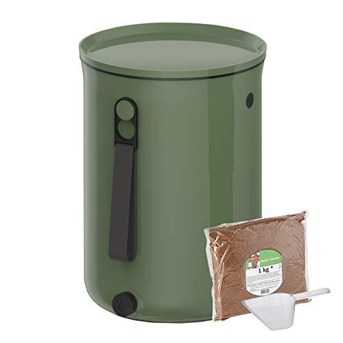 Skaza Bokashi Organko 2 (9.6 L) | Preisgekrönter Küchenkompostbehälter aus Recyceltem Kunststoff | Starter Set für Küchenabfälle und Kompostierung | Mit EM Bokashi Ferment 1 kg (Olivgrün)
