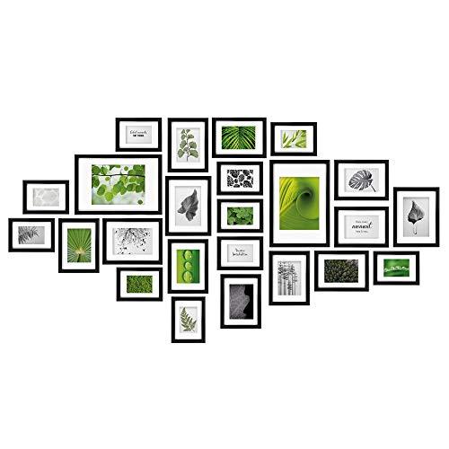bomoe 24er Set Bilderrahmen Nature Bilder-Collagen Fotorahmen aus Holz, Kunststoffglas, Metall-Aufhängung, Aufsteller & Passepartout - 10x 10,5x15cm / 8x 13x18cm / 4x 15x20cm / 2x 20x30cm - Schwarz