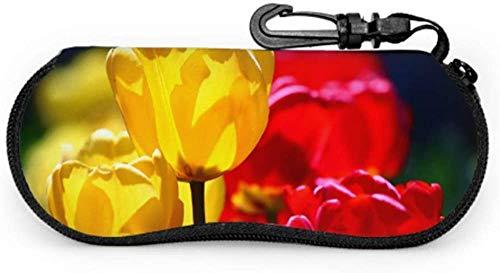 Rojo Amarillo Tulipanes Confitería Primavera Tulipanes Konya Mejor Gafas de Sol Caso Gafas Casos Ligero Portátil Neopreno Cremallera Suave Caso Bebé