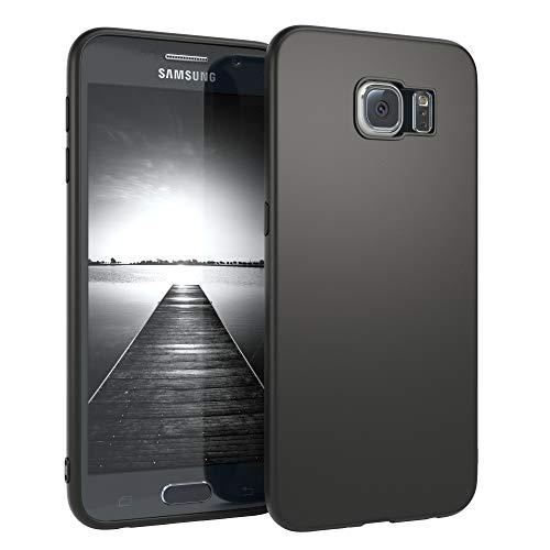 EAZY CASE Handyhülle Silikon mit Kameraschutz kompatibel mit Samsung Galaxy S6 in schwarz matt, Ultra dünn, Slimcover, Silikonhülle, Hülle, Softcase, Backcover