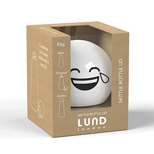 Lund London - Botellero Skittle con tapa Emoji - Tapas para botella de agua aislada - Intercambiable en todas las botellas de Skittle - White Laugh