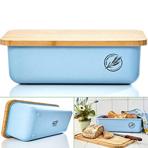 bambuswald© ökologischer Brotkasten mit Brot-Schneidebrett aus 100% Bambus | Brotbox für langanhaltende Frische z.B. Brotlaib Croissaints Bröttchen - Brotdose Brotbehälter Brotaufbewahrungsbehälters