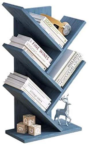 Desktop Bookshelf Tree Desktop Boekenplank 5-Tier Display Shelf Bureau Opbergrek Hout Bureau Organizer Vrijstaand Boekenkast Planken voor Office Desktop Opslag-Blauw Baifantastic