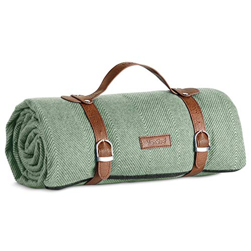 VonShef Picnic Blanket, Large Outdoor Green Picnic Blanket with Waterproof Lining and Faux Leather Carrier Handle, Herringbone Outdoor Blanket 147 x 180cm