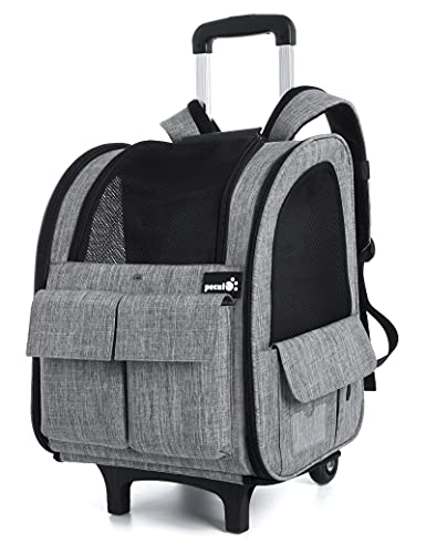 pecute Pet Trolley Backpack, Dog Rucksack Bag on Wheels, Multi-Function Rolling Carrier with Adjustable Height, Multi-Pockets Breathable Pet Travel Carrier for Cats & Dogs