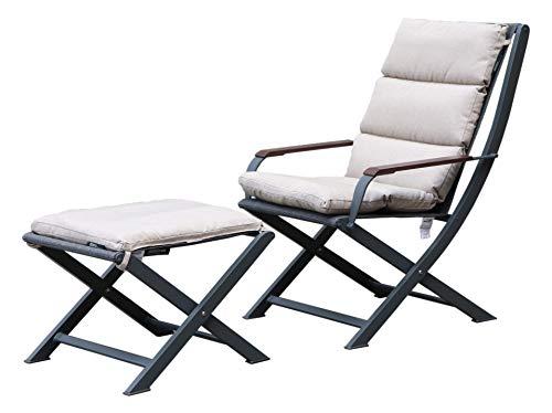 Westfield extérieur Ambre pliante Fauteuil de salon et repose-pieds avec rembourré Cushions-lightweight, mais robuste Cadre Prend en charge jusqu'à 120 kg Ensemble de meubles de jardin L Anthracite / Beige