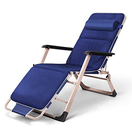 Chaise pliante Bureau inclinable Déjeuner Pause Chaise Nap Balcon Plage Maison Chaise Lazy Chaise Heureux Avec Peluche (Couleur : Bleu)