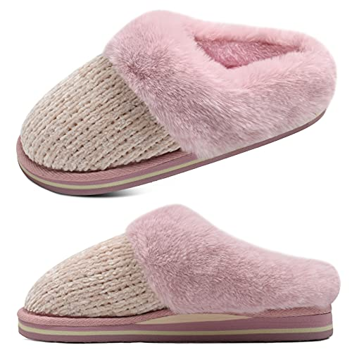 jiajiale Zapatillas de Espuma Viscoelástica para Mujer Zapatillas de Felpa de Chenilla Cálidas de Invierno con Cojín de Alta Densidad Espuma de Yoga Suela Duradera Antideslizante