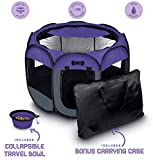 Ruff 'n Ruffus Portable Foldable Pet Playpen + Carrying Case & Collapsible Travel Bowl | Indoor/Outdoor use | Water Resistant | Removable Shade Cover (Extra Large (48' x 48' x 23.5') Free Bonus)
