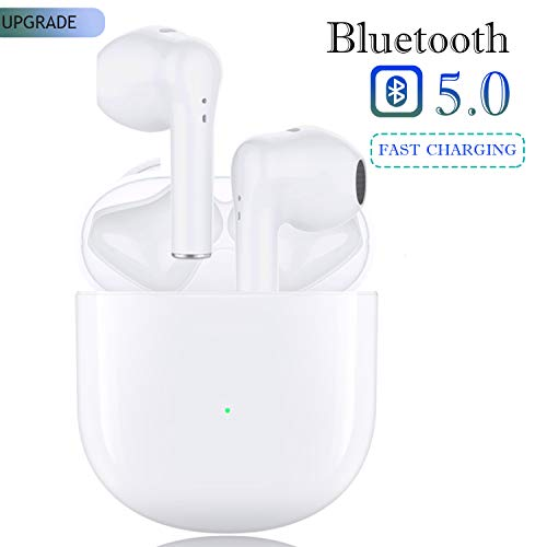 Wireless Earbuds Headphones Bluetooth Earbud 5.0 Ear Buds with Mic Smart Reduction (Fast Charging Case) Pop-Up Auto Pairing Wireless Headphones Earbuds iPhone/Android/Airpods in Ear Earbud