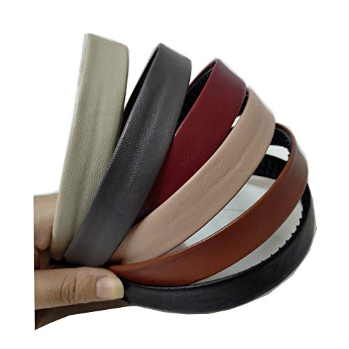 Bzybel Women Decorative Wide Solid Leather Headbands Plastic Hair Bands Hair Comb Elastic Bands Hair Ponytail Accessories with Teeth for Lady Girls Thick Fine Hair (Color 1)