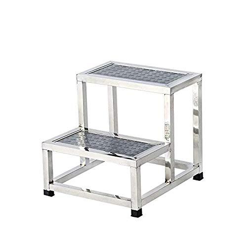 FS Fußhocker, Family Clinic Einzel- / Doppel-Fußhocker Leiter Treppen Leiter Hocker aus Edelstahl (Size : Double Ladder)