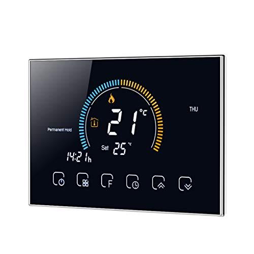 Vokmon Termostato Programable de 5 + 1 + 1 LCD retroiluminado de Calentamiento de Agua de calefacción Controlador LCD retroiluminado Controlador de Temperatura, Negro