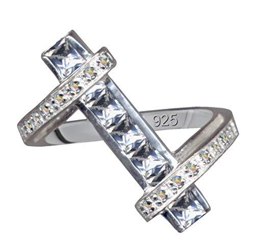Anillo de plata de ley 925 con circonitas, cristales blancos, plata de ley 17,5 mm, tamaño 55, amor, creencia, esperanza, emoción, símbolo, diseño, extravagante, bonito, moderno, color blanco