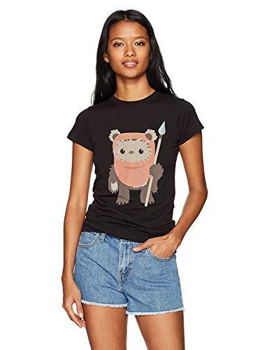Star Wars Women's Ewok Spear Crew Neck Graphic T-Shirt, Black, XXL