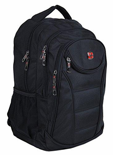 SwissCross Rucksack in Schwarz, Stabile Form, ideal für Business und Schule, clevere Innenfächer
