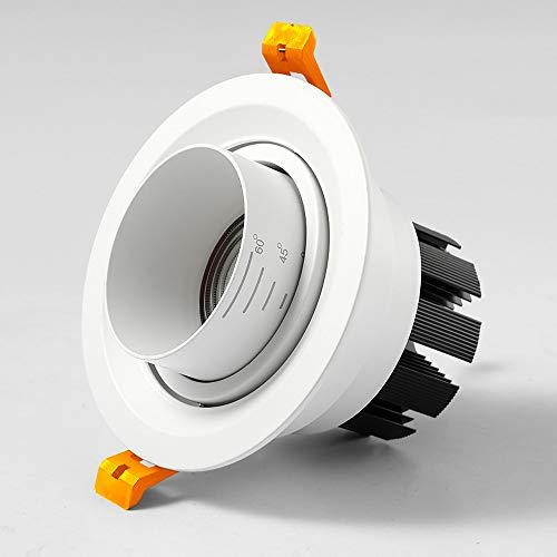 Zkciss Lámpara de techo de aleación de aluminio Lámpara de techo Led moderna europea Foco empotrado Downlight Foco ajustable Fondo Pared Sala de conferencias Lámpara de pasillo 6000K Luz blanca