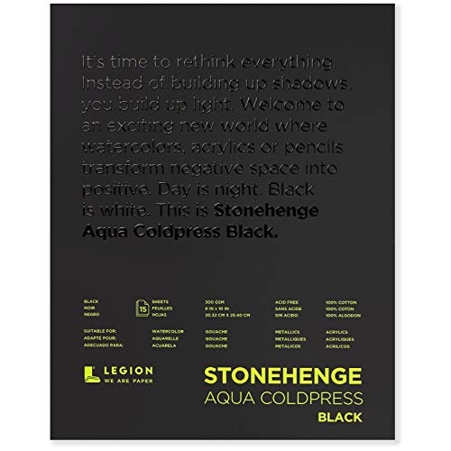 Stonehenge Aqua Black Pad, 140lb, Coldpress, 8 x 10 Inches, 15 Sheets