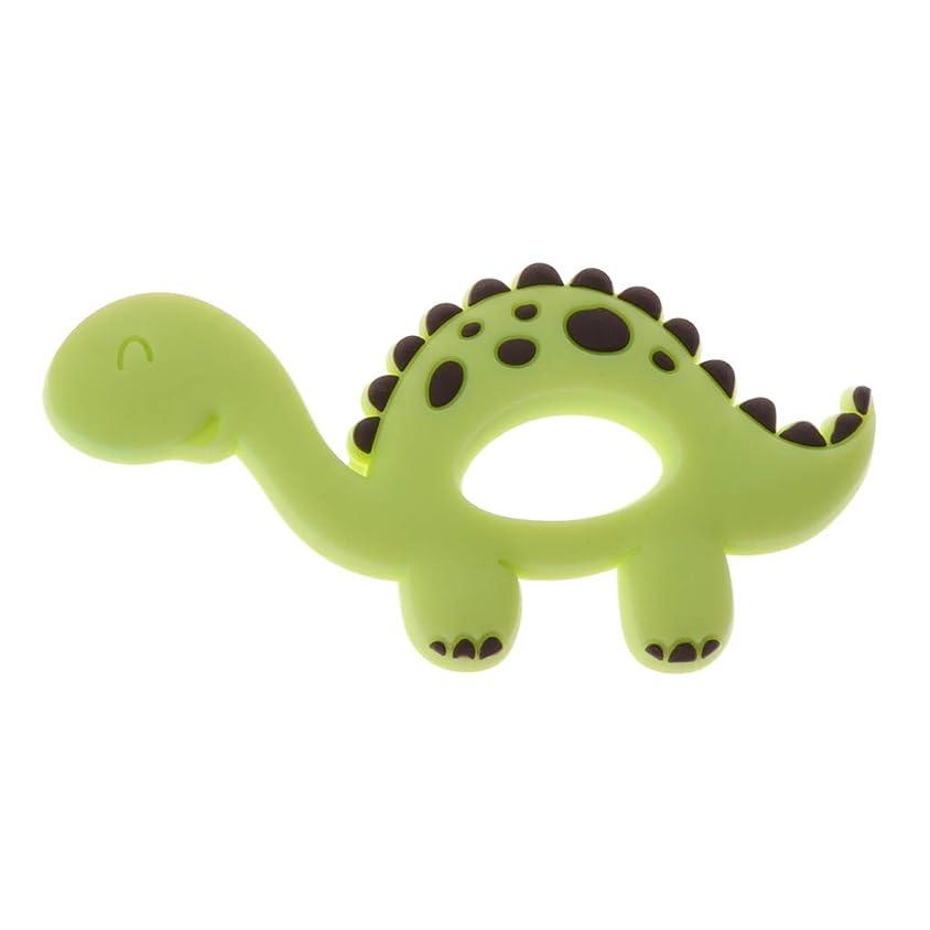 確認マイク面積Landdumシリコーンおしゃぶり恐竜シリコーンおしゃぶり赤ちゃん看護玩具かむ玩具歯を作るガラガラおもちゃ - 青