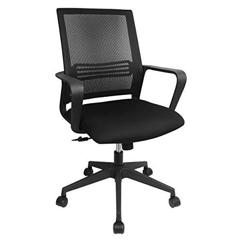 HomyLink Bürostuhl mit Armlehnen, ergonomischer Chefsessel, Schreibtischstuhl, Netzstoff, Schwarz