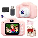CHAKWAN Kids Camera, Upgrade Digital Dual Camera for Children 2 Inch Screen 2MP 1080P HD Video Recorder 32G SD Card with Lanyard Anti-Drop Gift Toy Camera for Girls Boys Toddler Age 3-12 (Pink) - Best Reviews Guide