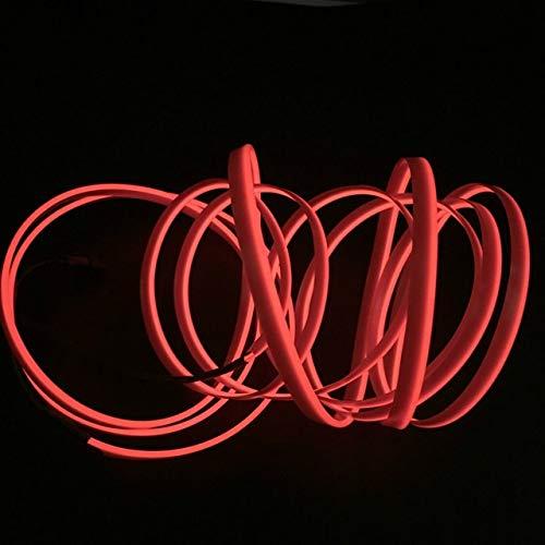 HYSJLS 5M 10 Colores de luz Ambiental Car El Cold Line Iluminación Interior Flexible moldura Tiras Decoración for la lámpara de la Motocicleta Atmosphere Luces (Emitting Color : Rojo)