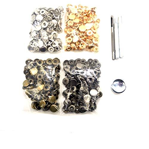 Accesorios de costura 4 colores (cada 30sets) botones a presión + 4 Herramientas Metal Press Studs Snap Sujetadores para coser Bolsas de ropa de Lateralería Bolsas Pulsera Cinturón para tela de jersey