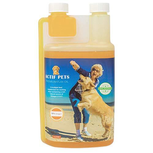 ACTIF PETS Leinöl für Hunde - reich an Omega 3, 6 & 9 für trockene, juckende Haut und Fell. EIN natürlicher Hundezusatz für steife Knochen/Gelenke/Hüften.
