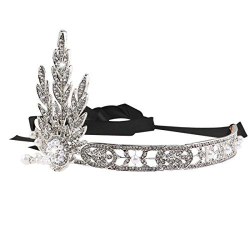 Tiara de casamento Pixnor Bling prateado The Great Gatsby, inspirado em folhas de melindrosa, com pérolas simuladas