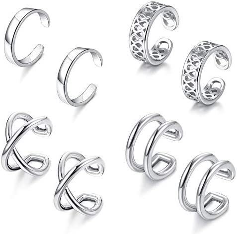 ORAZIO 4 Pairs 925 Sterling Silver Ear Cuff Earrings for Women Adjustable Non Pierced Fake Clip product image