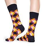 Happy Socks – Calcetines de algodón coloridos sin etiqueta, con diferentes patrones de colores, para hombre y mujer Mehrfarbig 70 Optic Squre 36-40
