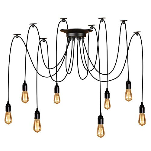 Asvert Pendelleuchte spinnen lampe Vintage Pendelleuchten Hängelampe E27 Lampen Vintage Schwarz (ohne Leuchtmittel) (8 Köpfe)
