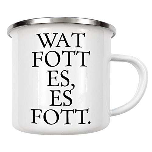 artboxONE Emaille Tasse Kölsches Grundgesetz Wat fott es, es fott von OHKIMIKO - Emaille Becher Städte/Köln