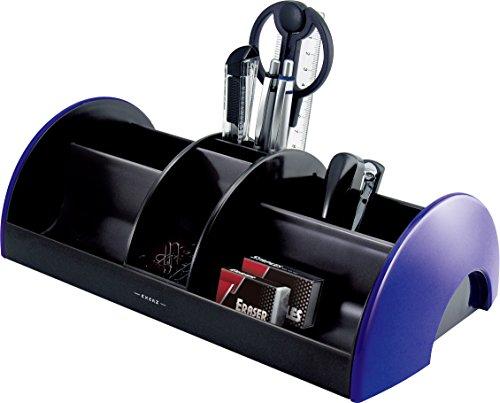 EXERZ EX895A O-Life MEGA Organizador de Escritorio con Artículos de Oficina 30x16x9 cm - Tijeras, Grapadora, Grapas, Lápices, Regla, Goma de Borrar, Clips INCLUIDO - Organizador de Oficina / Portalápices / Sistema de Escritorio (Azul)