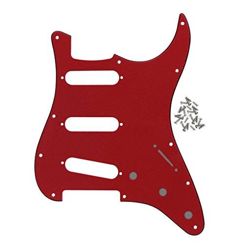 IKN 11 Löcher Modern SSS Style Strat Schlagbrett mit passenden Schrauben für Amerika/Mexiko Made Fender Strat E-Gitarren Ersatz, 3-lagig rot/schwarz/rot