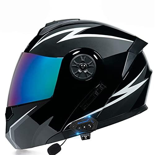 YALIXING Casco de motocicleta Bluetooth con doble visera abatible modular Bluetooth para hablar y escuchar música rápido y conveniente certificado DOT/ECE (color: F, tamaño: mediano 57-58 cm)