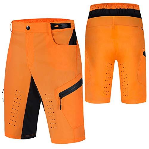 Culotte Ciclismo Hombre,Verano Impermeable Culotes Ciclismo Hombre, Transpirable Cómodo Pantalon Corto Montaña Hombre,para Correr Deportes al Aire Libre Pantalon Mountain Bik(Size:L,Color:Naranja)