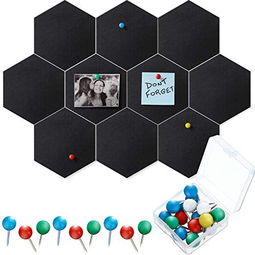 10 Packs Pin Board Hexagon Felt Board Tiles Bulletin Board Memo Board with 20 Pieces Push Pins, Decoration for Home Office Classroom Wall (Black, 5.9 x 7 Inches/ 15 x 17.7 cm)