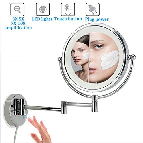 8 Pouces Double Face LED Miroirs de Maquillage, 3X/5X/7X10XMiroir Grossissant Mural, 360°Pivotant, Surface chromée, Extensible,Alimenté par 4 Piles AAA (Non Inclus),10x