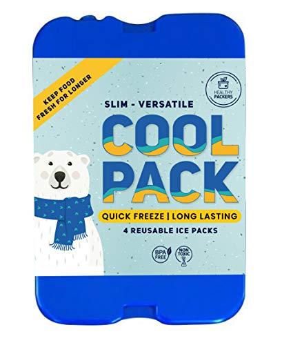 Kühlakku für Lunch, Kühltasche und Kühlbox – Das Original Cool Pack | Extra Dünn & lange Kühlleistung für unterwegs (4 Stück im Set)