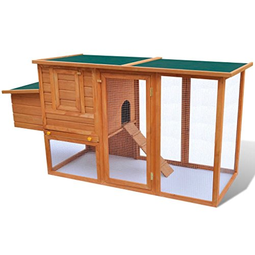 WEILANDEAL kippenhuis van hout voor buiten met vak voor eieren en konijnenstallen, groot voor buiten, met een antislip ladder om de toegang tot de bovenste plant te vergemakkelijken.