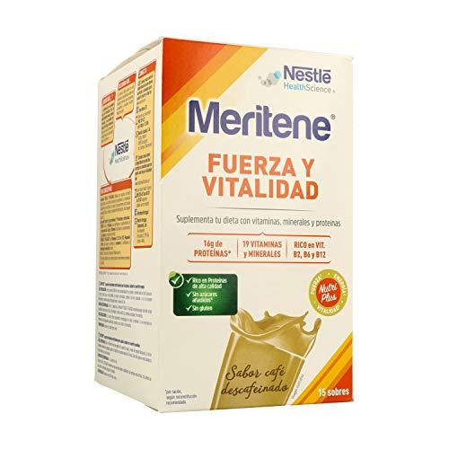 MERITENE Fuerza y Vitalidad, Batido, Complemento Alimenticio, Vitaminas y Minerales, Sobres, Café Descafeinado, 15 Unidades