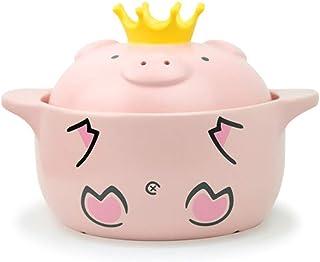 XH&XH Ceramic Casserole Pot with Lid Heat Resistant Casserole Non Sticking Round Clay Pot Clay Pot Ceramic Pot Pig Pattern...