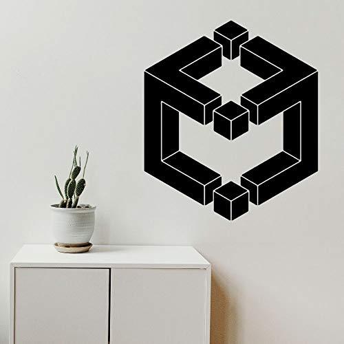 wZUN Calcomanías de Pared geométricas en Forma de Cubo decoración geométrica del hogar 68X79cm