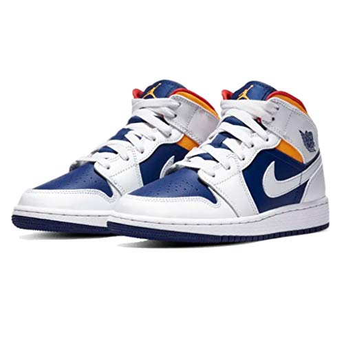 Nike Jungen AIR Jordan 1 MID (GS) Basketballschuh, White Laser Orange Deep Royal Blue Track Red, 36 EU