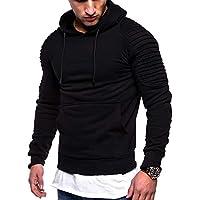 Johoproce Men's Slim Fit Pleated Raglan Sleeve Hoodie