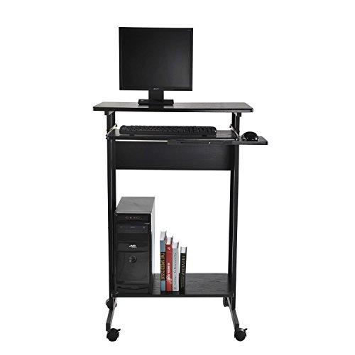 Tenive Ergonomic Mobile Office Desk Stand Up Computer Workstation Keyboard Shelf, 30' Black