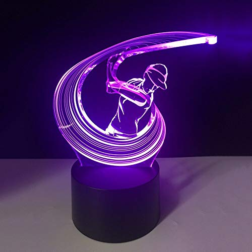suhang Slaapkamerverlichting 7 kleuren LED 3D Play Golf Swing Action Jongen tafellamp Touch Schakelaar USB Wohnkultur Giften touch switch